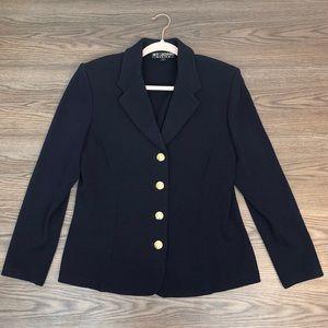 St. John Navy Knit Blazer Size 14